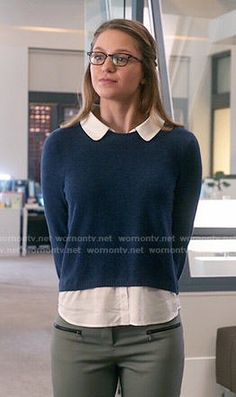 Kara's blue layered sweater on Supergirl.  Outfit Details: https://wornontv.net/55218/ #Supergirl