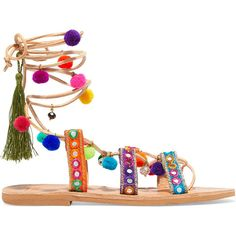 Mabu by Maria BK Ida embellished leather sandals (2.611.305 IDR) ❤ liked on Polyvore featuring shoes, sandals, pom pom shoes, leather sandals, tassel shoes, pom pom sandals and pom pom leather sandals