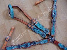 turquoise/black acid wash custom tack set  black/turquoise swarovski crystals