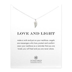 love and light angel wing necklace, sterling silver