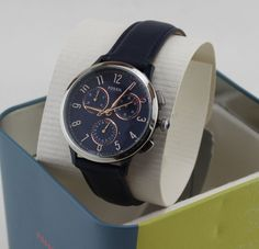 NEW AUTHENTIC FOSSIL ABILENE SPORT SILVER BLUE CHRONOGRAPH WOMENS CH3072 WATCH