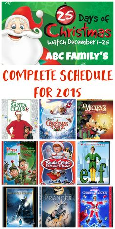 ABC Family 25 Days of Christmas Movies Schedule 2015 - Check out the full list of Christmas movies you'll find on ABC Family this year!