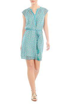 I <3 this Floral print chiffon tassel tie dress from eShakti