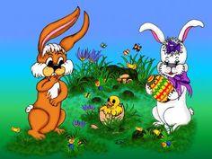 'Happy Easter with Bunny Rabbit and Chick' von artkszp bei artflakes.com als Poster oder Kunstdruck $16.63