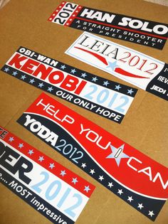 This would sound like the Hubby! Too funny'~  SET OF 5 Star Wars Election Bumper Stickers   20 by kariannkelly, $20.00