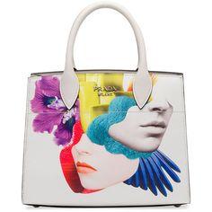 Prada Printed Medium Top-Handle Satchel Bag (205.310 RUB) ❤ liked on Polyvore featuring bags, handbags, white, prada, white satchel, flap satchel handbag, handle satchel and prada handbags