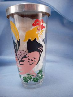 Vintage Cocktail Shaker Roosters Glass