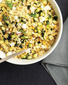 Corn and Zucchini Orzo Salad - This recipe was a flop.  It was supposed to be a cold pasta salad, but the only flavor it had was lemon juice... the zucchini and orzo tasted like nothing.  I wouldn't recommend it.