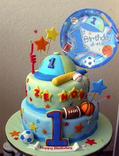 Sports Theme 1st Birthday by specialcakes/tracey, via Flickr