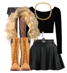 """""""After school , yassss"""" by trillest-queen ❤ liked on Polyvore featuring Boohoo, Timberland and Bling Jewelry"""