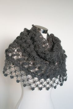 Crochet Shawl in Dark Grey - Winter accessories - Cowl - Shrug - Shrug Stole Shawl