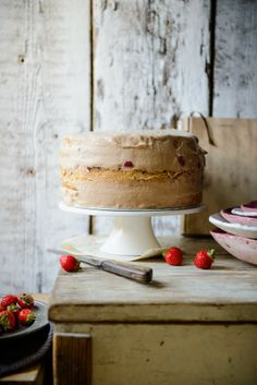 Strawberry cake with chocolate & salted caramel mousse and almond sponge