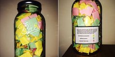 "Guy Made ""365 jar"" for girlfriend of 8 years. Pink- reasons why he loves her; yellow- memories; green- favorite quotes. Goal is for her to open one ever morning for a year of happiness from him. So cute! Great Xmas gift if the notes were Christmas colors. Green red and white/silver."