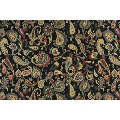 A0021C Red Orange Yellow Green Black Paisley Contemporary Upholstery Fabric