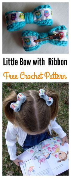 Little Bow with Ribbon Hair Clips Free Crochet Pattern