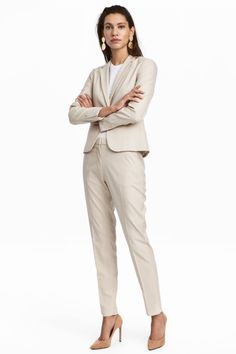 Suit pants in woven stretch fabric with a regular waist and zip fly with concealed hook-and-eye fastener. Side pockets and tapered legs with Beige Dress Outfit, Beige Dresses, Trouser Suits, Trousers, Suit Pants, Beige Suits, Corporate Uniforms, Suits For Women, Clothes For Women