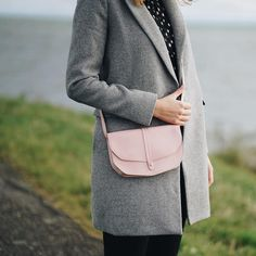 Keecie - Small leather bag - Move Mountains in Soft Pink - Silk screen print inside