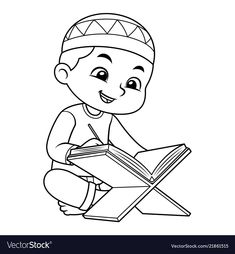Moslem boy reading koran bw vector image on VectorStock Ramadan Activities, Ramadan Crafts, Activities For Kids, Poster Ramadhan, Coloring Books, Coloring Pages, Cute Couple Cartoon, Hand Embroidery Videos, Islam For Kids