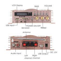 Mini Hi-Fi 600W 2 CH Stereo Audio Power Amplifier USB SD FM for Car Auto Motorcycle