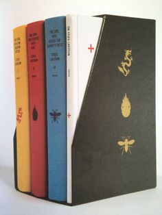 Stieg Larsson's Millennium Trilogy Deluxe Boxed Set.  Published by Knopf in 2010.  Designed by Peter Mendelsund.