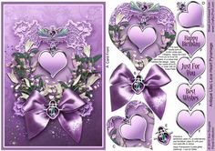 Antique Lilac Lace Heart Pyramage on Craftsuprint designed by Sue Douglas - A pretty design, Antique Lilac Lace is from my collection of Floral designs. Lovely Art Nouveau Jewels are a part of the design. The Heart Pyramage is easy and quick to make up, full instructions are provided. The main design will fit an A5 Card front (A4 folded in half), and the pieces are added in step by step alphabetical order, to build up a Pyramid effect. Happy Birthday and With Love Labels are included plus a…