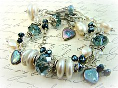 Etsy Transaction - Blue crystal bracelet with pearls, double strand charm bracelet, sterling silver chain, RHAPSODY IN BLUE