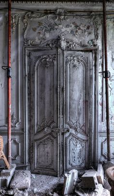 Abandoned Mansions, Abandoned Buildings, Abandoned Places, Grand Entrance, Entrance Doors, Old Doors, Windows And Doors, Rustic Home Design, Door Accessories