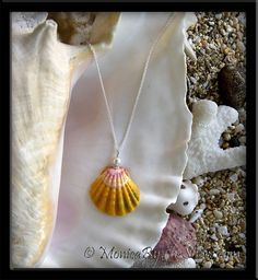 Classic Hawaiian Sunrise Shell & White Pearl Pendant Silver Necklace