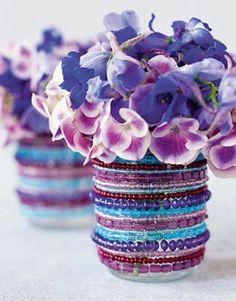 diy dekoration für vasen und blumentöpfe - idee für frühling