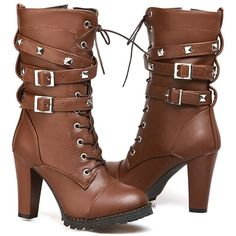 Susanny Women's Mid Calf Leather Boots High Heel Lace Up Military... ($23) ❤ liked on Polyvore featuring shoes, boots, cowgirl boots, high heel boots, military boots, mid calf leather boots and lace up high heel boots