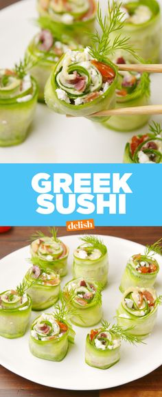 Greek Sushi is the healthy snack your entire family will be asking for. Get the recipe at Delish.com. #recipe #easyrecipe #snack #greek #mediterranean #tomatoes #feta #cheese #olive #hummus #cucumber