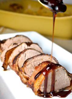 Bacon Wrapped Pork Tenderloin with Cherry Bourbon Chutney