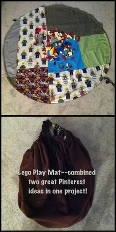 """Drawstring Lego play mat--followed instructions from another pin but added patchwork """"landscape"""" for imaginative play."""