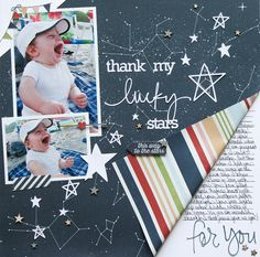 #papercraft #Scrapbook #layout. Thank my Lucky Stars **Simple Stories DT** - Scrapbook.com - Fold back a corner of paper to reveal the other side and leave room for journaling.