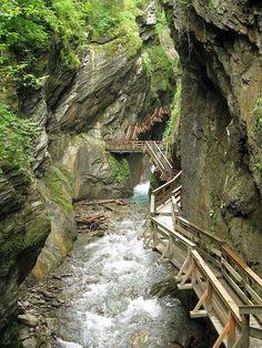 Wooden pathway in Sigmund Thun Gorge, Austria