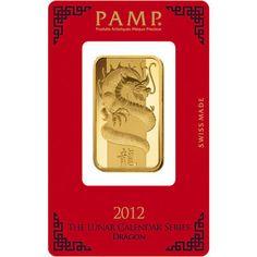 2012 1 oz PAMP Suisse Lunar Dragon Gold Bars from JM Bullion™
