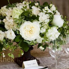White Floral Centerpieces - hydrangeas and garden roses