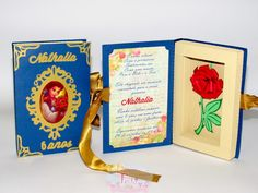 Convite Livro A Bela e a Fera Beauty And The Beast Cake Birthdays, Beauty And The Beast Party, Disney Beauty And The Beast, Bueaty And The Beast, Book Clutch, Wedding Crafts, Disney Diy, 7th Birthday, Projects To Try
