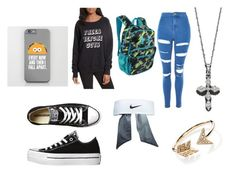 """""""School Outfit #1"""" by audrey-fariss ❤ liked on Polyvore featuring Topshop, Converse, EF Collection, Rebecca Minkoff, Bloomingdale's, NIKE, Under Armour, school, Frankie and ItspolyvoreCUTE"""