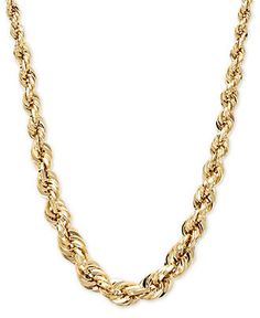 Gold Chain Men Yellow Gold Necklace, Square Graduated Polished Rope Chain - A simple touch of luxury. Crafted in gold, this polished chain features a graduated rope design. 14k Gold Jewelry, 14k Gold Necklace, Rope Necklace, Chain Necklaces, Men Necklace, Golden Jewelry, Necklace Charm, Chain Jewelry, Jewelry Necklaces