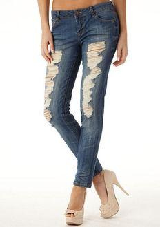 Celebrity Pink Destructed Skinny Jean