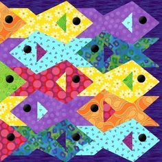 Tessellating Fish paper pieced quilt pattern PDF from PiecebyNumberQuilts on etsy - it would be fun to make the fish fin triangle pop out from the quilt. Description from indulgy.com.