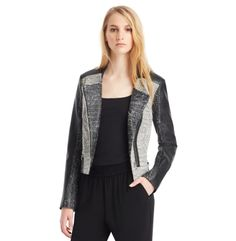 This chic jacket is crafted in a combination of textured tweed and sleek faux leather, and designed in a cool moto silhouette. Style it over your favorite shift dress for a twist on professional dress, or pair with skinny jeans.   stand collar  asymmetric front-zip closure  horizontal zipped pockets  faux-leather sleeves  lined  20' length  dry clean  imported