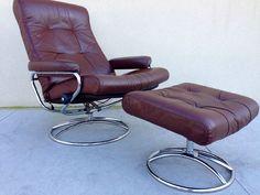 EKORNES Stressless Recliner Chair Ottoman Leather Mid Century Modern Norway #contemporary #EkornessStressless