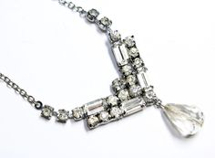 Art Deco Style Sparkly Claw Set Rhinestone Diamante Silver Coloured Chain & Crystal Drop Necklace (c1950s) - Wedding by GillardAndMay on Etsy