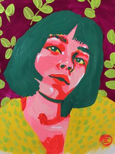 This one was done with Acryla Gouache paints. I love the vibrant contrasting col… - Gouache Painting Gouache Painting, Painting & Drawing, Art Inspo, Art Sketches, Art Drawings, Portrait Sketches, L'art Du Portrait, Portrait Paintings, Abstract Portrait Painting
