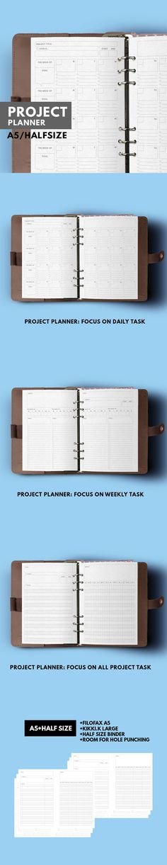 Project / Goal Planner in minimal layout This planner design for tracking all task in your project for 4 weeks in 2 pages, There're 3 different layouts that you can choose which is suit for you such as project planner focus on daily task, weekly task or whole project.
