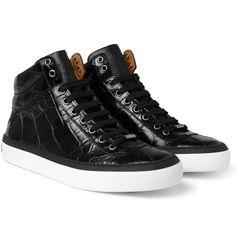 Jimmy ChooBelgravia Crocodile-Embossed Leather High Top Sneakers