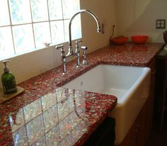 Superior Vetrazzo Recycled Glass Countertop In Firehouse Red W/ Patina. Red Glass Is  The Rarest