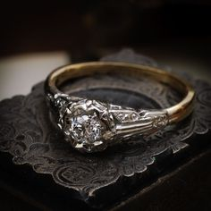 Circa and featuring a luminously lovely antique hand-cut Diamond, this Art Deco darling is quite the charmer! Fashioned completely by hand, with such sup Black Diamond Wedding Rings, Wedding Rings Sets Gold, Antique Wedding Rings, Antique Engagement Rings, Solitaire Diamond, Solitaire Engagement, Vintage Rings, Vintage Art, Wedding Ring Pictures